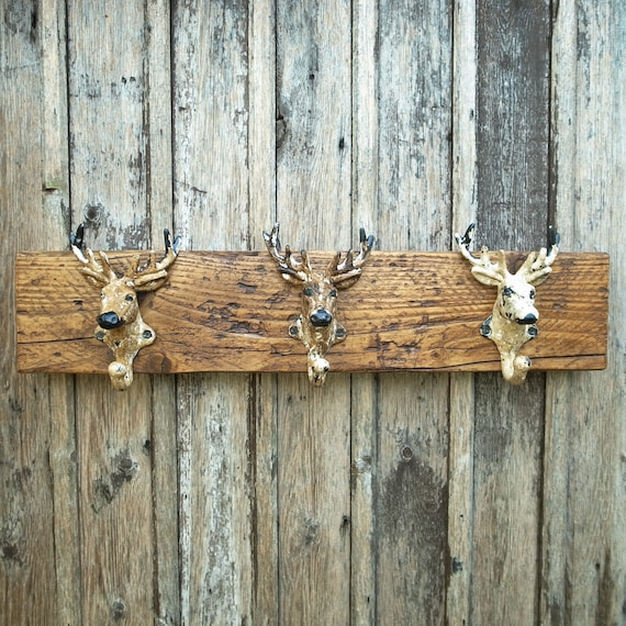 Vintage Rustic Reclaimed Wooden Coat Rack Hooks STAG'S HEAD Stag Night GIFT Man Cave (Limited Stock)