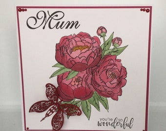Handmade stamped Mothers Day card