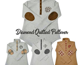 Monogram Quilted Pullover Tunic, Diamond Quilted Sweatshirt, Monogrammed Quilted Shirt
