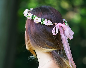 Pink Wildflower Crown, Adult Flower Crown, Bridal Flower Crown, Bridesmaid Flower Crown, Flower Girl Crown, Pink Flower Crown