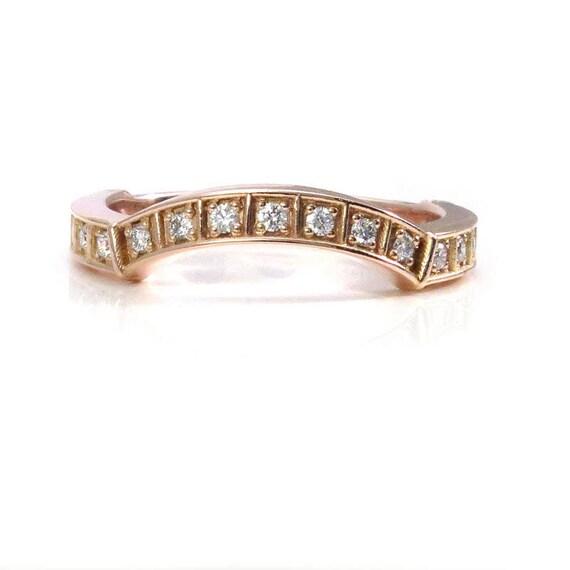 Curved Modern Diamond Wedding Band - Black or White Diamonds - 14k Rose, Yellow or Palladium White Gold