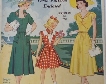 Australian Home Journal October 1951 including sewing, crochet,knit,tatting patterns Vintage Advertising 50s fashion, Mid Century Style