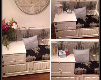 shabby chic telephone table with chandelier pattern