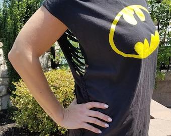 Black Shredded Batman Shirt / Pool Cover-up - Exclusive!
