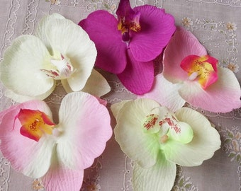 Silk Butterfly Flowers Artificial Orchid Phalaenopsis Flower Heads Artificial Fabric Silk Flowers DIY Crafts 30pcs 9*10cm CJ-HDL