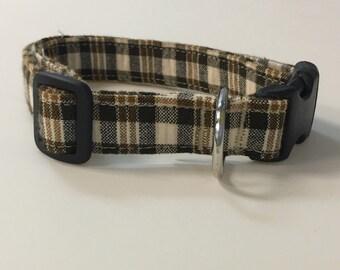 Adjustable Brown and Tan Plaid Print Dog Collar