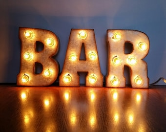 """Metal Marquee BAR Sign 7"""" Letters"""