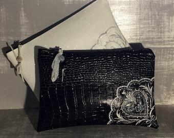 Embroidered Faux Croc Clutch.  Glittering clutch bag