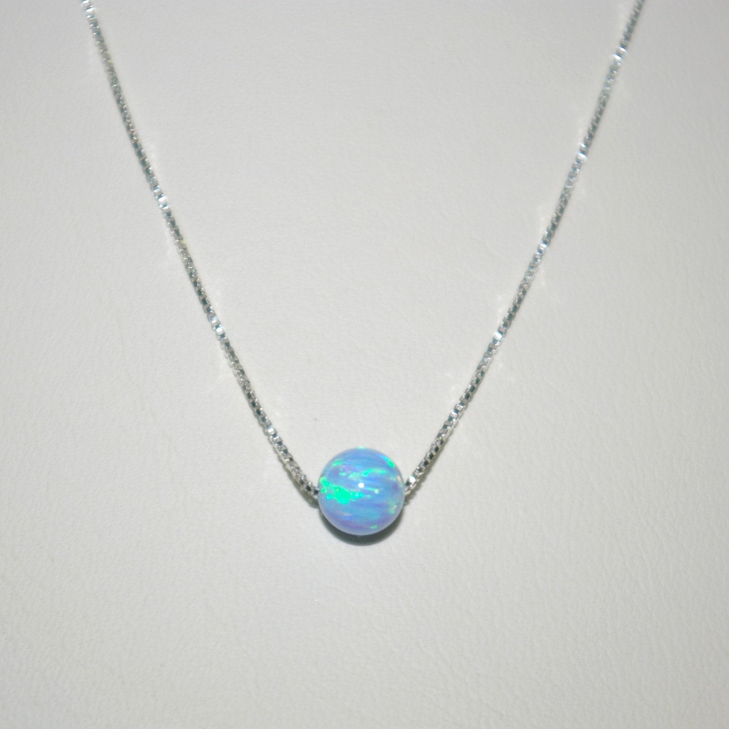 pendant solitaire b az jewelry silver opal sterling jf bling set bezel necklace blue round bzl