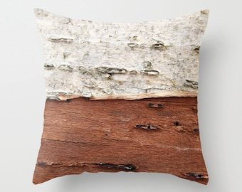 Rustic Lake House Decor Birch Bark Throw Pillow Rustic Farmhouse Decor rustic brown and taupe pillow rustic Birch Pillow Cover Home Decor