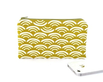 Small zipper pouch with Japanese wave pattern, Male teacher gift pencil pouch, Practical gifts, Teenager Unisex travel wallet Organic cotton