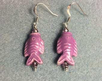Purple ceramic fish bead dangle earrings adorned with purple Chinese crystal  beads.