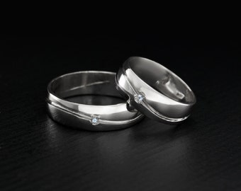 Wave wedding rings, His and hers wedding bands, Wide silver bands, Men silver wedding band, Women silver wedding ring, Wedding bands set