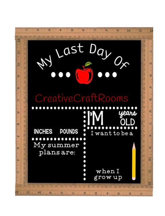 Last Day of School Chalkboard, Reusable Last Day of School Chalkboard, Last Day of School Sign Ruler, First Day of School Sign, Ruler Sign