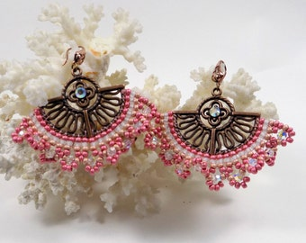 """earrings, """"Madrid"""" in pink brick stitch"""