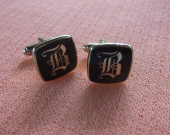 Vintage Men's Cuff Links, Elegant Monogram B in Silverplate, Elegant Silver Tone B Monogram on Black Enamel