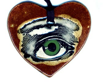 Third Eye Heart Ceramic Necklace in Green