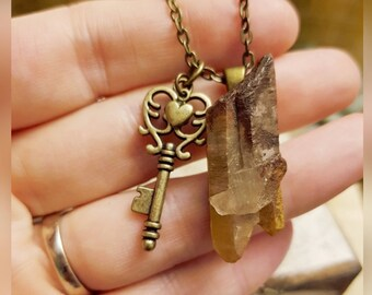Hematoid Quartz Necklace - Antique Bronze Chain, Key and Heart Charms