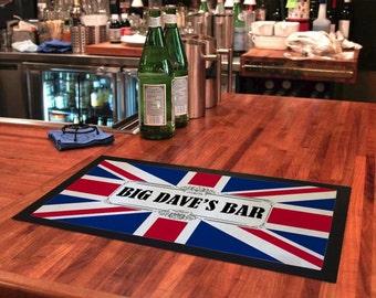 Bar Runner Union Jack Drip Spill Mat Personalized Bar Gifts For Men Women