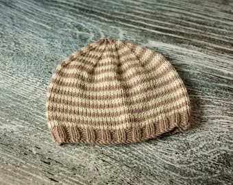 Baby Beanie Hat - Mink, Cream Stripes - Hand Knit, UK Seller