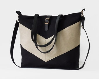 LARGE, Solid Black chevron tote / diaper bag / shoulder bag.  9 inside pockets. Waterproof poly lining available