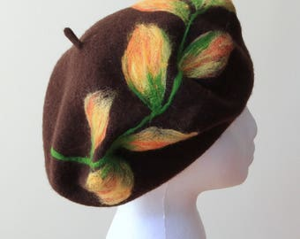 French Beret 100% Wool in Dark Brown colour Parisian Classic Style One Size