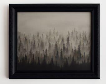 Foggy mountain misty forest framed original oil painting. Black and white ambient nature landscape. Fog mist forest interior framed artwork