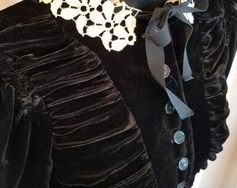 Vintage, 1930's, Black, Velvet, Ivory, Lace, Short Sleeve, Dress, Dry Cleaned