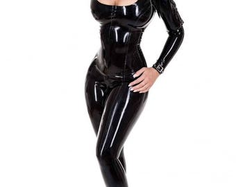 R1885 MADAME MILANO Mistress Rubber Latex Catsuit with Zip back Made+Designed In UK