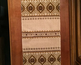 VIntage woven textile, Norwegian table runner