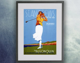 St Andrews, Canada, Vintage Golf Poster Print