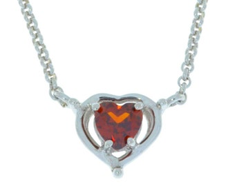 Valentine's Day Garnet Heart Pendant .925 Sterling Silver
