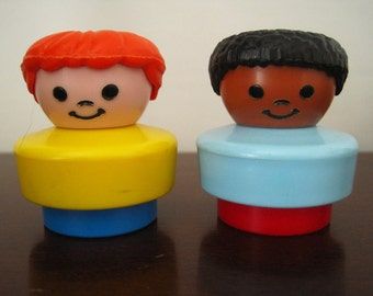 Fisher Price Little People – Boy, Girl - Set of Two Vintage Toy Figures – Plastic, Mexico