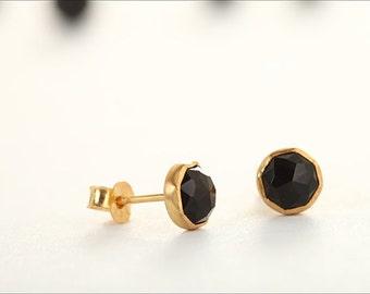 Black Onyx Stud Earrings – Elegant Earrings for Bridesmaids