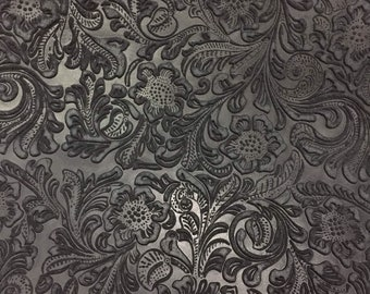 Black Laser Cut leather Hide, Artfully patterned leather for handbags and accessories. Black leather hide, Cowhide leather
