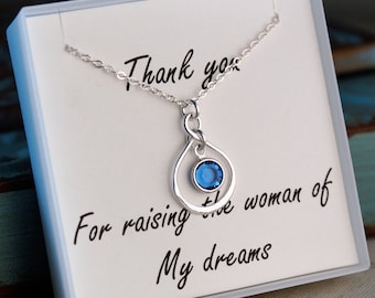 Mother of the Bride Necklace / Sterling Silver Infinity Necklace with Birthstone / Thank you for raising the woman of my dreams