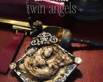 Angel... Pendant welded in silver alloy with hard stones. soldered jewelry, soldered necklace, angel, clay, sacred.