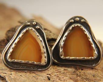 Agate Slice & Sterling Freeform Post Earrings - Poland
