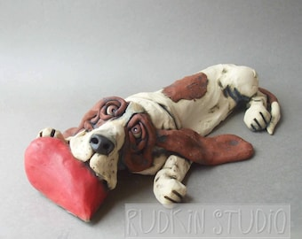 Basset Hound on Heart Ceramic Dog Sculpture