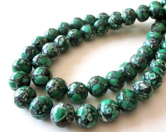 "Green Mosaic Round Beads - Smooth Natural Gemstone - Green Howlite Turquoise - Diy Women Bracelets - 10mm - 16"" strand - DIY Jewelry Making"