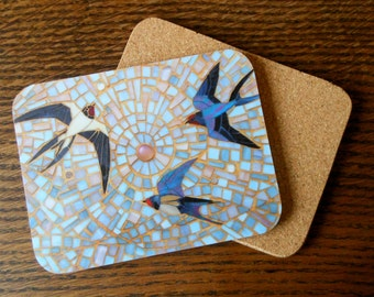COASTER Mosaic Swallows Coaster (III) - Rustic Coasters Swifts House Martins - Rustic Decor - Housewarming Gift - Bird Lover Gift - Bird Art