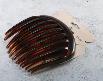 Vintage Karina Hair Comb Pair Tortoise Plastic Side Comb Made Italy Accessory