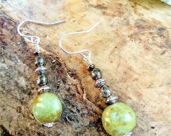Rustic Green Vintage style earrings; OOAK Handcrafted Earrings; Green Picasso finish Czech Glass Earrings; Pencarro Gift Box; UK Shop;