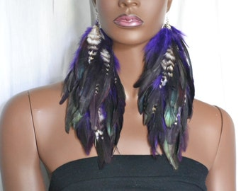 Purple and Black Feather Earrings with Grizzly Feathers, Iridescent Feather Earrings, Bohemian Jewelry