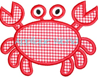 Cute Crab Applique Embroidery-Instant Digital Download Crab-Machine Applique Embroidery Crab-Kids Crab Applique Pattern.Cute Crab Applique.