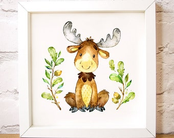 Nursery Wall Art Moose On The Loose Is One Of The Forest Friends Animal Set,