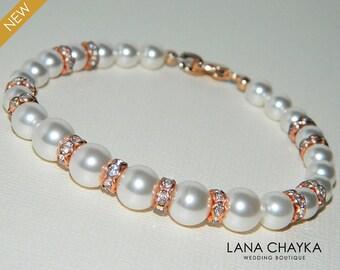 White Pearl Rose Gold Bridal Bracelet Swarovski Pearl Rose Gold Wedding Bracelet Rose Gold Pearl Bracelet Wedding Bridal White Pearl Jewelry