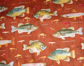 Brown Fish Toss Cotton Fabric by the Yard