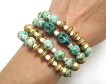 Sugar Skull Bracelet Day of the Dead Jewelry Cuff Wood Stone Gold Green White SugarSkull