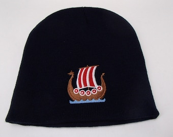 Scandinavian Norwegian Swedish or Danish Viking Ship on Navy Blue Knit Hat